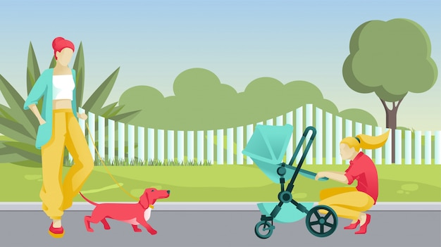 Cartoon women with dog and baby in pram on street