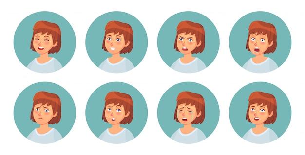 만화 여자의 감정. 여성 캐릭터 얼굴 감정, 행복 한 웃는 여자와 화난 얼굴 초상화 벡터 일러스트 세트