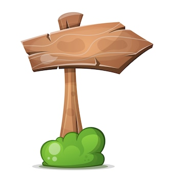 Cartoon wood arrows with bush