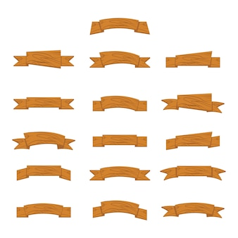 Cartoon wood banners and ribbons for ui game