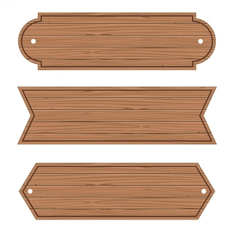 Cartoon wood banners wooden planks set.