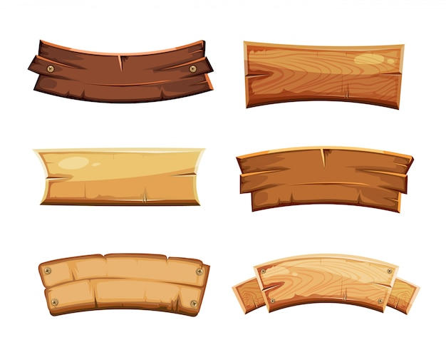 Cartoon wood blank banners and ribbons