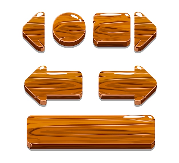 Cartoon wood buttons for game