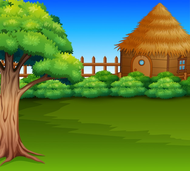 Cartoon of wood cabin in a green field