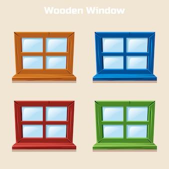 Cartoon wooden colorful window