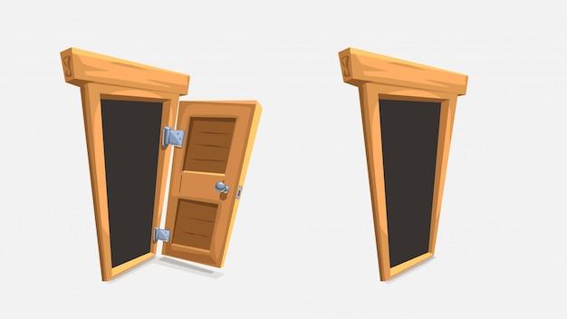 Cartoon wooden doors set on white