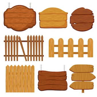 Cartoon wooden garden fence.