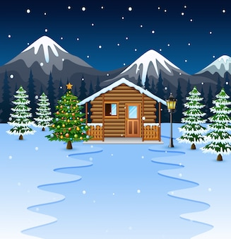 Cartoon of wooden house with christmas tree