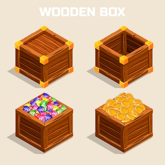 Cartoon wooden isometric boxes for game