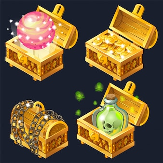 Cartoon wooden isometric chests with treasures.
