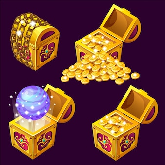 Cartoon wooden isometric chests with treasures
