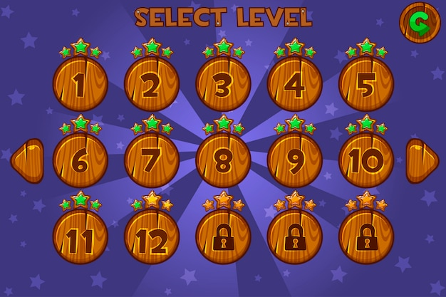 Cartoon wooden level selection screen. game ui set