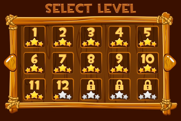 Cartoon wooden level selection screen. interface and buttons for ui game