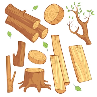 Cartoon wooden materials