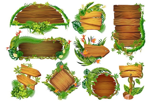 漫画の木製パネル。熱帯のつる植物や植物、ジャングルの森の看板のゲームポインタと情報テーブル。暗い背景に設定されたベクトルイラスト木製ラベル