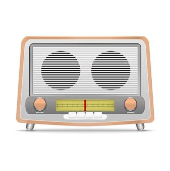 흰색 배경에 고립 된 만화 나무 복고풍 라디오 방송 장비 클래식입니다. 벡터 일러스트 레이 션