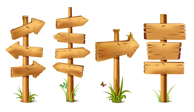 Cartoon wooden rustic sings in arrow of direction. old, retro banner with metal nails for messages or pointers for path finding with butterflies and grass around and realistic shadow.
