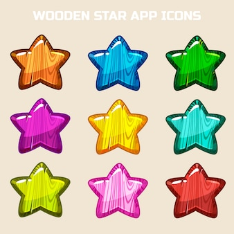 Cartoon wooden stars in different colors