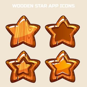 Cartoon wooden stars in different threads