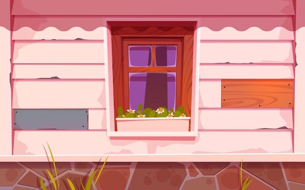 花と漫画の木製の窓