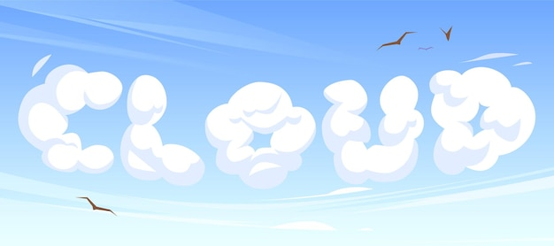 Cartoon word cloud in blue sky or heaven