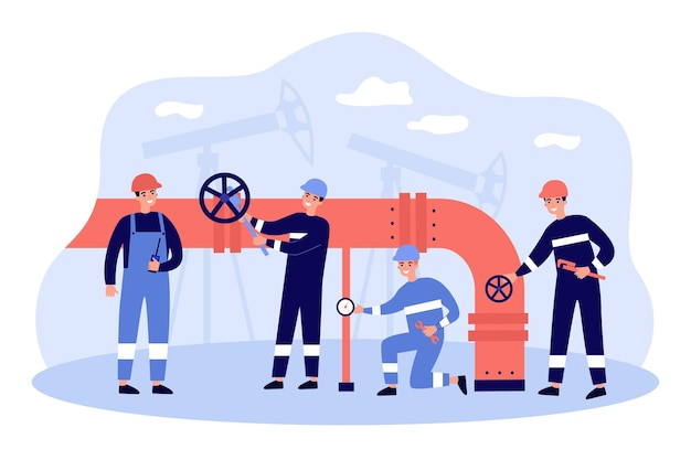 Cartoon workers characters with pipeline transporting oil or gas flat illustration