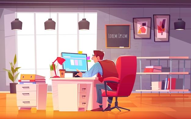Cartoon working day scene illustration