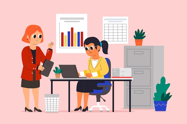 Cartoon working day scenes illustration