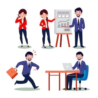 Cartoon working day scenes set