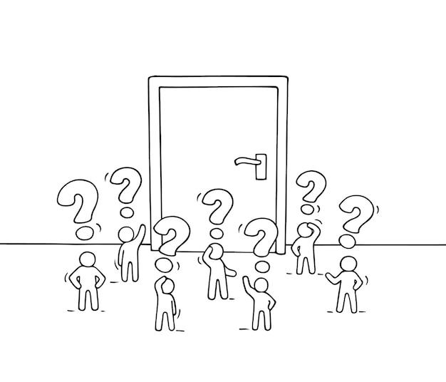 큰 문을 가진 작은 사람들이 일하는 만화. 기회에 대한 노동자의 귀여운 미니어처 장면을 낙서합니다. 손으로 그린 비즈니스 디자인입니다.