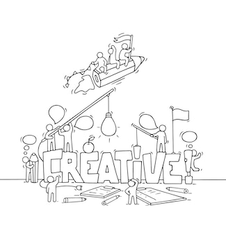 Cartoon working little people with big word creative. doodle cute miniature scene of workers about creativity and startup. hand drawn cartoon   illustration