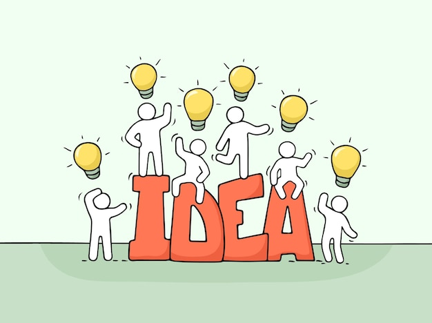단어 아이디어와 램프 아이디어를 가진 작은 사람들이 일하는 만화. 창의성에 대한 노동자들의 귀여운 미니어처 장면을 낙서하세요. 비즈니스 디자인을 위한 손으로 그린 벡터 일러스트 레이 션.
