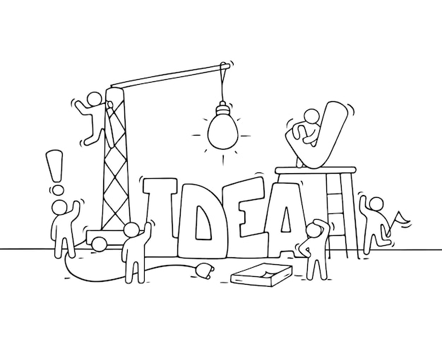 Cartoon working little people with word idea. doodle cute miniature scene of workers about creativity. hand drawn cartoon illustration
