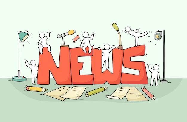 Мультфильм рабочих маленьких людей со словом новости. иллюстрации шаржа для дизайна средств массовой информации.