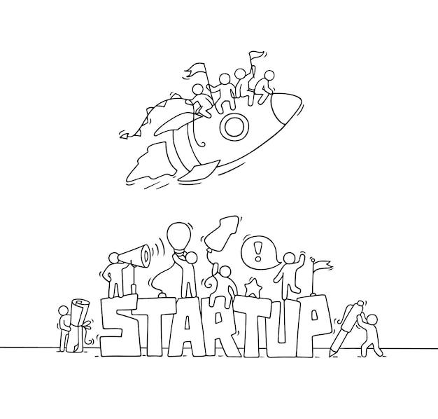スタートアップという言葉で小さな人々を動かす漫画。ビジネスデザインの漫画のベクトルイラスト。