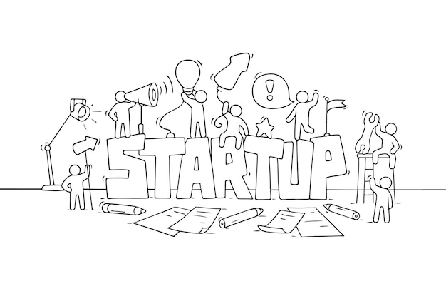 Cartoon working little people with word startup. vector illustration - workers about creativity.