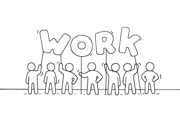 Мультфильм рабочих маленьких людей со словом работа.
