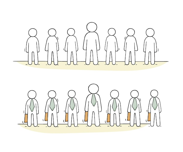 Cartoon working people stand in a row illustration