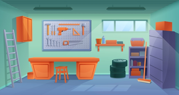 Cartoon workshop garage interior with tools and furniture, vector illustration