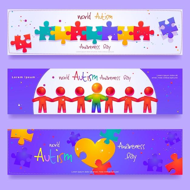 Cartoon world autism awareness day horizontal banner set