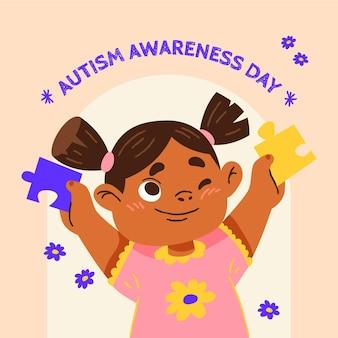 Мультяшный всемирный день осведомленности об аутизме с кусочками головоломки