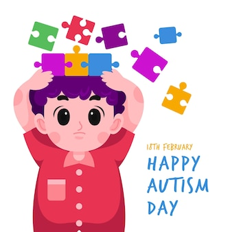 Cartoon world autism awareness day illustration with puzzle pieces