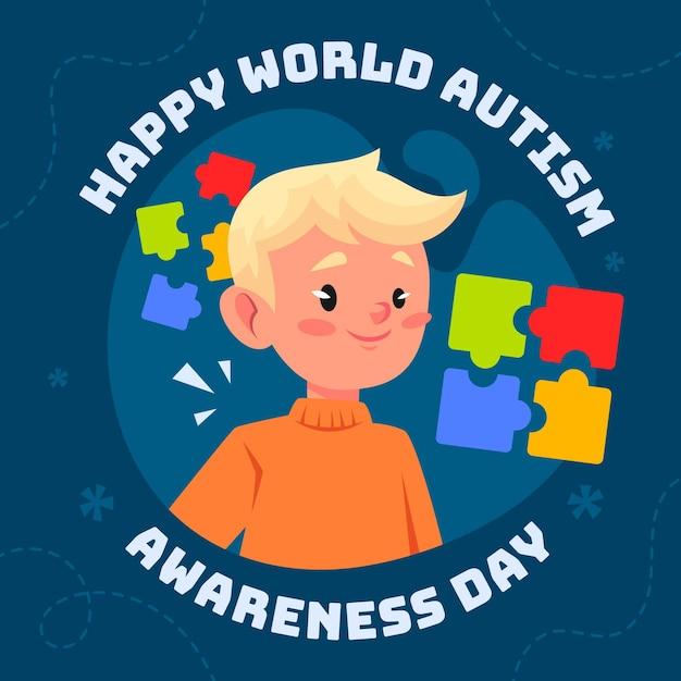 Cartoon world autism awareness day illustration