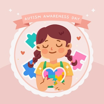 Cartoon world autism awareness day illustration