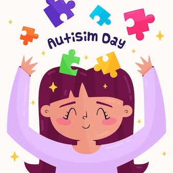 Illustrazione di giorno di consapevolezza dell'autismo del mondo del fumetto