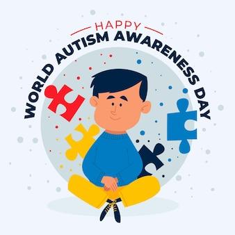 만화 세계 자폐증 인식의 날 그림