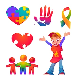 Cartoon world autism awareness day illustration Premium Vector