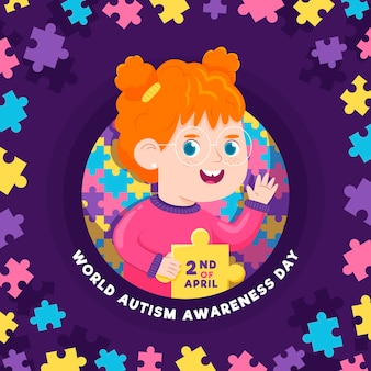 Cartoon world autism awareness day illustration Free Vector