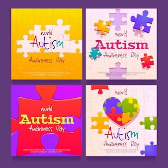 Cartoon world autism awareness day instagram post collection