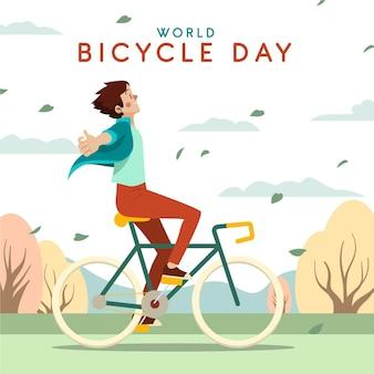 Illustrazione di giornata mondiale della bicicletta del fumetto